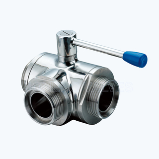 Sanitary 3 way threaded ball valves