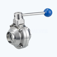 Sanitary butterfly type ball valves