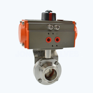Sanitary horizontal actuated butterfly valves
